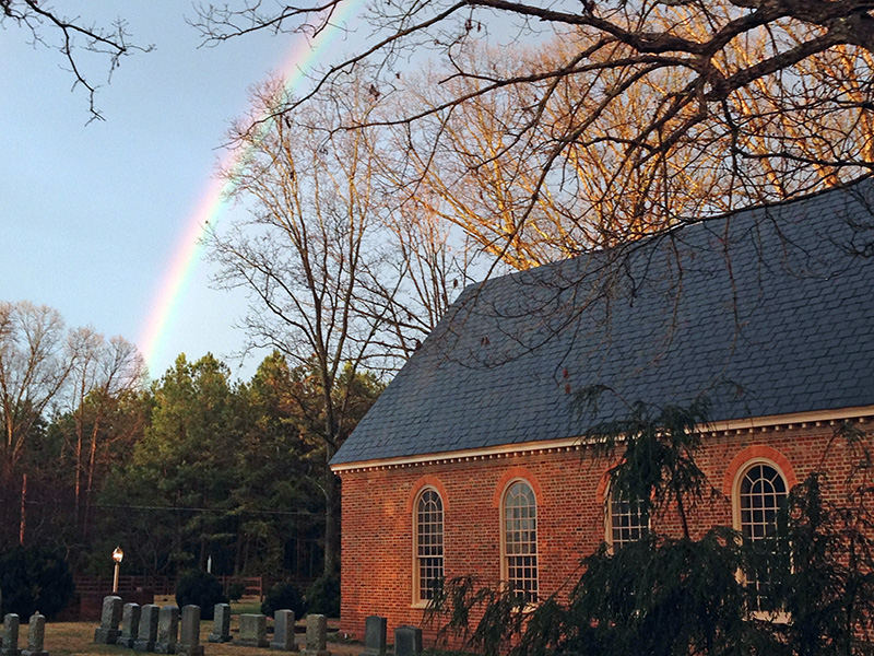A rainbow over Manakin Episcopal Church